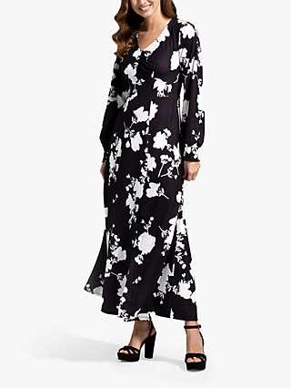 HotSquash Floral Chiffon Long Sleeve Maxi Dress, Black/White