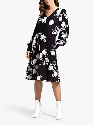 HotSquash Floral Chiffon Dress, Black/White