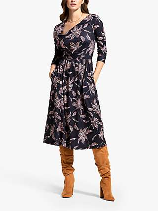 HotSquash Mosaic Floral Print Asymmetric Neck Midi Dress, Black/Multi