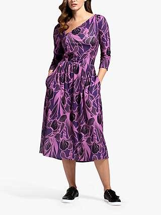 HotSquash Damson Floral Print Asymmetric Neck Midi Dress, Purple