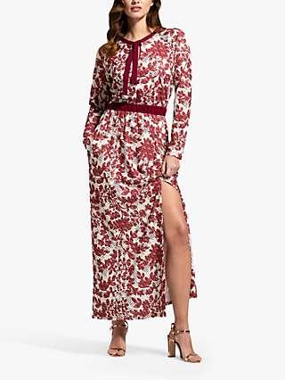 HotSquash Blossom Print Tie Neck Maxi Dress, Burgundy