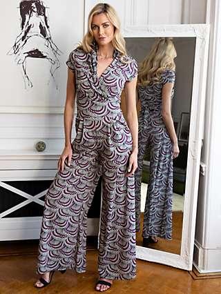 HotSquash Kimono Print Wide Leg Jumpsuit, Purple/Multi