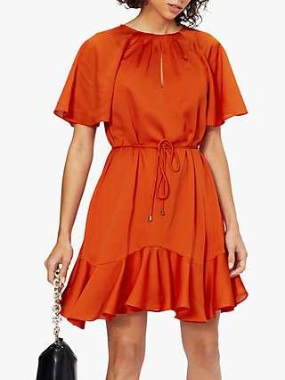 Ted Baker Fluted Mini Dress, Burnt Orange