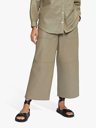Ted Baker Leather Wide Leg Trousers, Grey