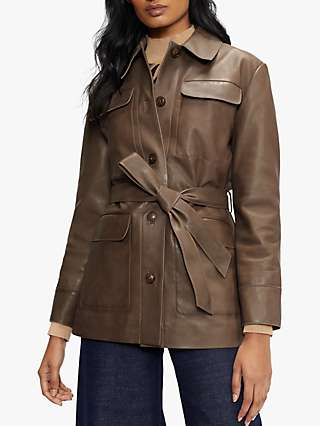Ted Baker Tie Waist Leather Jacket, Brown
