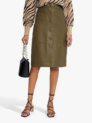Ted Baker Leather Button Skirt, Khaki
