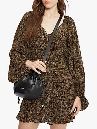 Ted Baker Ruched Floral Print Mini Dress, Brown