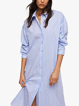 Mango Striped Cotton Midi Shirt Dress, Blue
