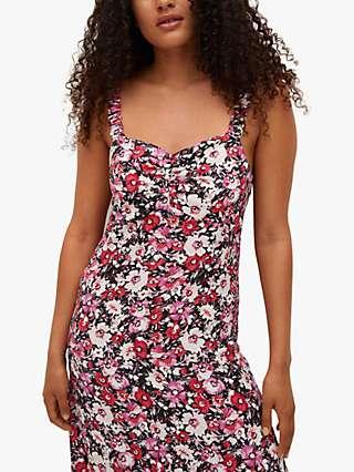 Mango Floral Print Ruffle Maxi Dress, Black/Multi