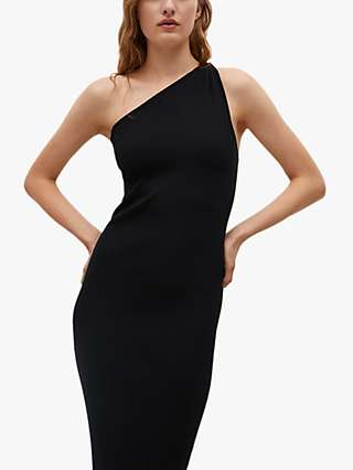 Mango Asymmetric One Shoulder Midi Dress, Black