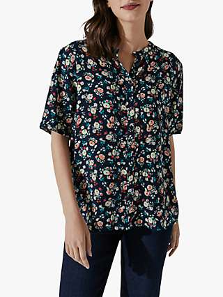 Crew Clothing Blanche Floral Short Sleeve Top, Multi