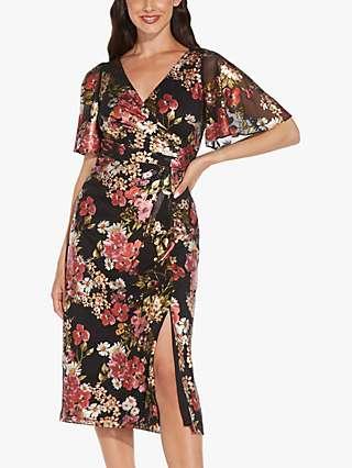 Adrianna Papell Foiled Midi Dress, Black/Multi