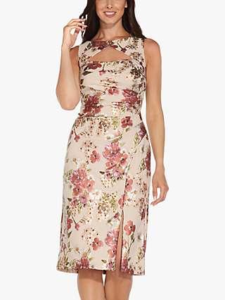 Adrianna Papell Foil Floral Crepe Dress, Alabaster/Multi