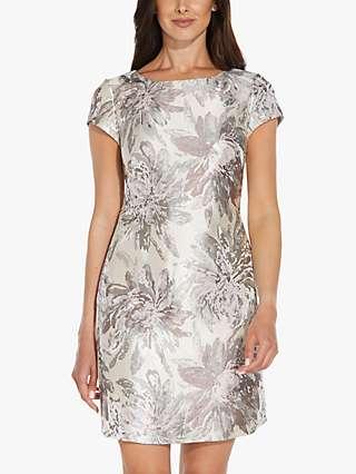 Adrianna Papell Jacquard Floral Shift Mini Dress, Summer Blush/Multi