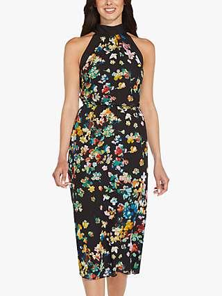 Adrianna Papell Floral Midi Dress, Black/Multi