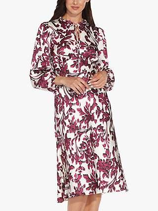 Adrianna Papell Floral Scroll Print Dress, Burgundy/Multi