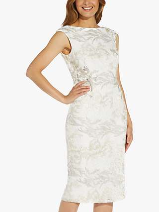 Adrianna Papell Floral Embroidered Midi Dress, Ivory
