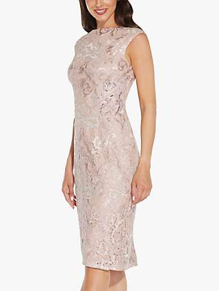 Adrianna Papell Embroidered Midi Dress, Dusty Rose