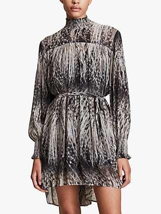 AllSaints Elita Pembury Feather Print Smock Dress, Black