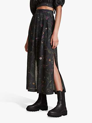 AllSaints Asta Heligan Floral Print Maxi Skirt, Black/Multi