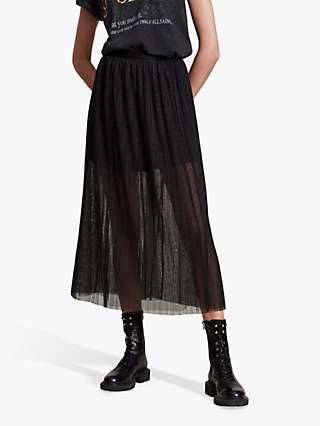 AllSaints Dina Pleated Maxi Skirt