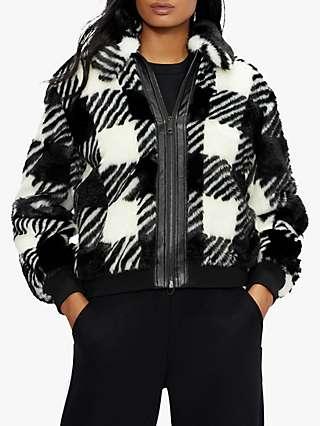 Ted Baker Kkamila Check Faux Fur Jacket, Black/White
