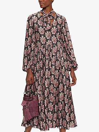 Ted Baker Dhana Floral Tie Neck Midi Dress, Black
