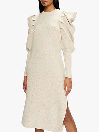 Ted Baker Marniaa Pleat Shoulder Midi Dress, Camel