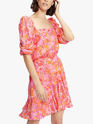 Ted Baker Bethha Floral Print Wrap Dress, Bright Pink