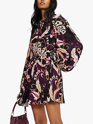 Ted Baker Rhabia Floral Mini Dress, Dark Purple/Multi