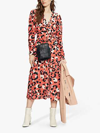 Ted Baker Isbeil Leopard Print Belted Midi Dress, Coral/Multi