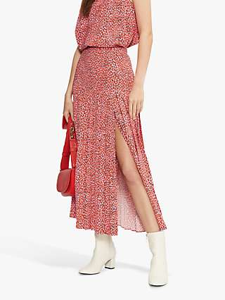 Ted Baker Zandi Side Slit Midi Skirt, Bright Pink/Multi
