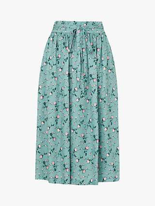 L.K.Bennett Boyd Silk Jacquard Rose Print Skirt, Teal