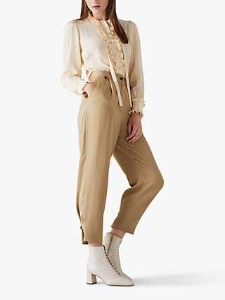 L.K.Bennett Amy Pleated Trousers, Camel
