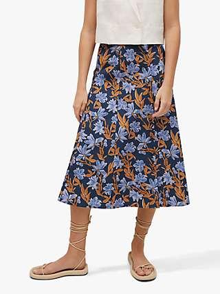 Mango Cris Floral Midi Skirt, Navy/Multi