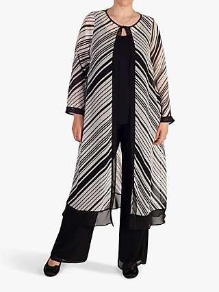 Chesca Striped Chiffon Coat, Ivory/Black