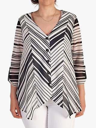 Chesca Striped V-Neck Tunic Top, Ivory/Black