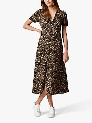 Forever New Kimmy Floral Lace Trim Midi Dress, Black