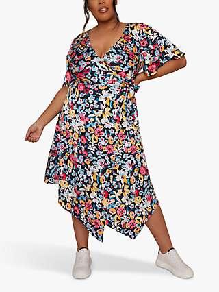 Chi Chi London Curve Floral Print Midi Wrap Dress, Multi