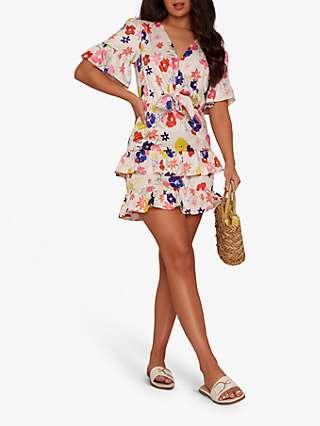 Chi Chi London Floral Print Button Front Midi Dress, Multi