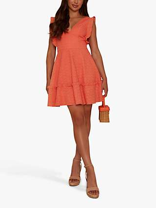 Chi Chi London Broderie Mini Day Dress, Coral