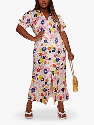 Chi Chi London Curve Floral Print Button Front Midi Dress, Multi