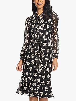 Adrianna Papell Floral Bias Cut Midi Dress, Black/Ecru