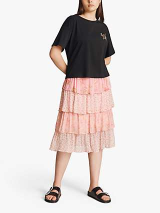 Ghost Thea Floral Tiered Midi Skirt