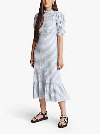 Ghost Solene Gingham Midi Dress, Blue