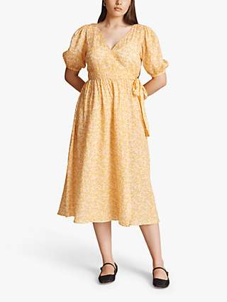 Ghost Ashley Ditsy Floral Mid Wrap Dress, Yellow
