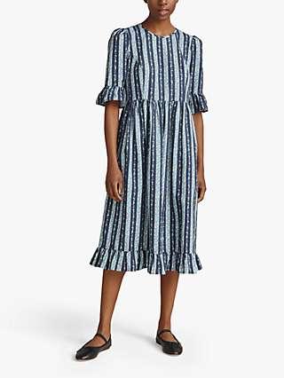 Ghost Gail Vintage Floral Stripe Midi Dress, Blue Stripes