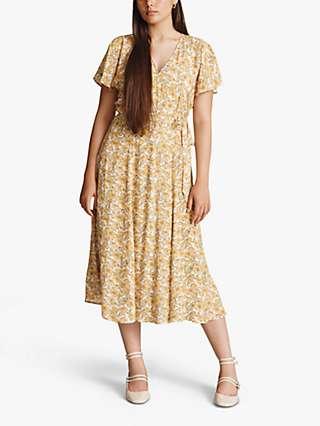 Ghost Hattie Floral Midi Dress, Yellow Vines