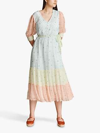 Ghost Daisy Gingham Tiered Midi Dress, Blue/Multi