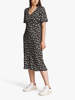 Ghost Lana Ditsy Floral Print Midi Dress, Black/Multi